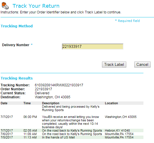 Return Tracking Example